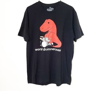 Goodie Two Sleeves T-rex worst drummer ever tee L